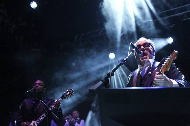 Elvis Costello performs with The Roots at the Brooklyn Bowl at the Linq Sunday, March 16, 2014.