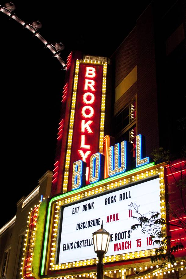 The Brooklyn Bowl marquee at the Linq advertises the Elvis Costello and The Roots concert Sunday, March 16, 2014.