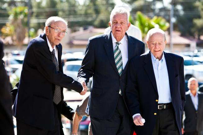 "Long-time friends of Jackie Gaughan arrive for the memorial mass for John Davis ""Jackie"" Gaughan held at St. Viator Catholic Church in Las Vegas on St. Patrick's Day, March 17, 2014. From right to left are  Burton Cohen, Gene Kilroy and an unidentified man."