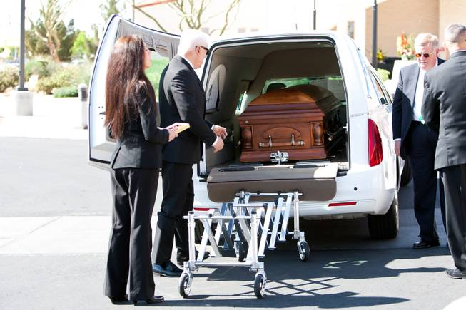 "The casket of John Davis ""Jackie"" Gaughan lies in wait inside a hearse prior to the memorial mass at St. Viator Catholic Church in Las Vegas on St. Patrick's Day, March 17, 2014.  Jackie Gaughan, 93, passed away March 12, 2014."