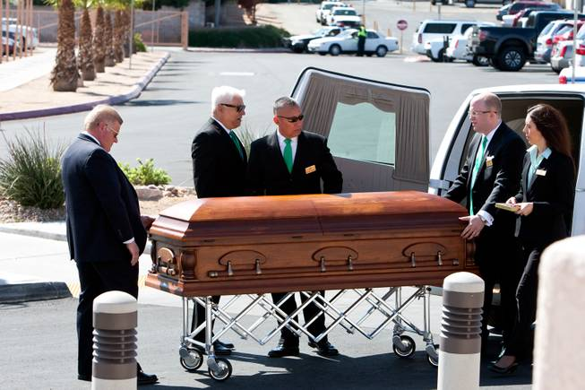 "The casket of John Davis ""Jackie"" Gaughan is prepared to enter the memorial mass at St. Viator Catholic Church in Las Vegas on St. Patrick's Day, March 17, 2014.  Jackie Gaughan, 93, passed away March 12, 2014."