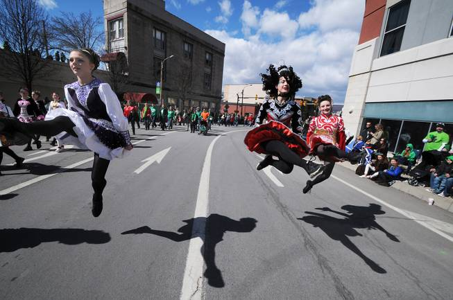 Dancers with the Gallagher School of Irish Dancing perform during the 53rd Scranton St. Patrick's Day Parade held in downtown Scranton, Pa. on Saturday, March 15, 2014.