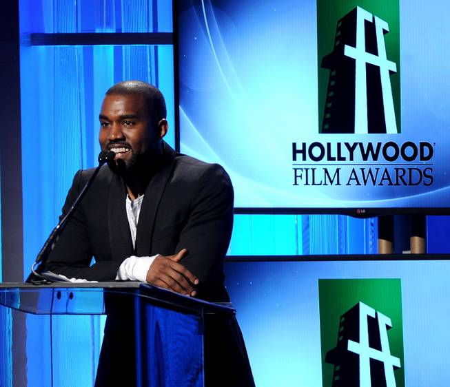 Kanye West speaks onstage during the 17th Annual Hollywood Film Awards at the Beverly Hilton Hotel in Beverly Hills, Calif., on Oct. 22, 2013.