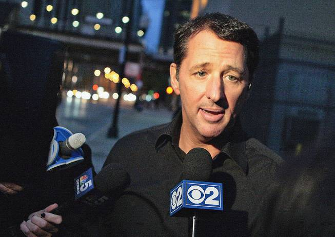 TV infomercial pitchman Kevin Trudeau speaks to media after leaving the Metropolitan Correctional Center in downtown Chicago on Oct. 28, 2013.