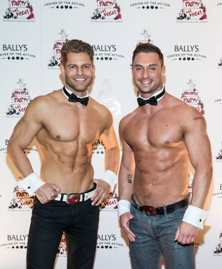 "Chippendales at the Rio and ""The Amazing Race"" stars Jaymes Vaughan and James Davis attend the ""Divorce Party: Las Vegas!"" grand-opening celebration Thursday, March 13, 2014, at Bally's."
