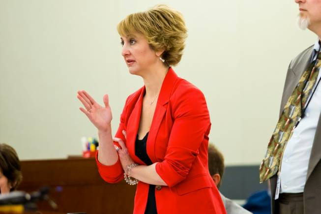 Lisa Zastrow, attorney for the Animal Foundation, addresses the Judge during a civil hearing between Donald Thompson, co-owner of Prince and Princess Pet Shop LLC, and the Animal Foundation at the Regional Justice Center, Wednesday, March 19, 2014.