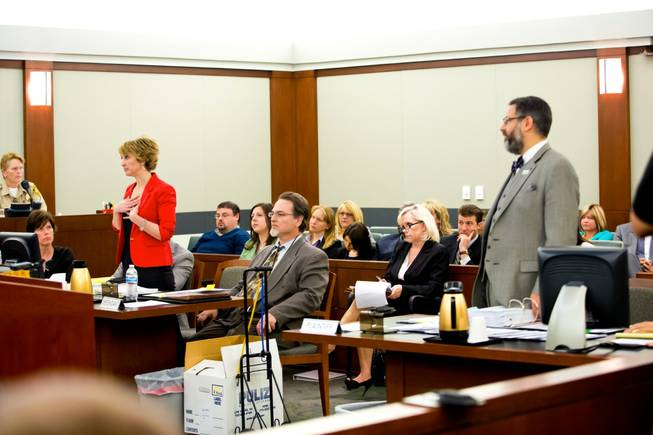Lisa Zastrow, left, attorney for the Animal Foundation, addresses the Judge during a civil hearing between Donald Thompson, co-owner of Prince and Princess Pet Shop LLC, and the Animal Foundation at the Regional Justice Center, Wednesday, March 19, 2014. .