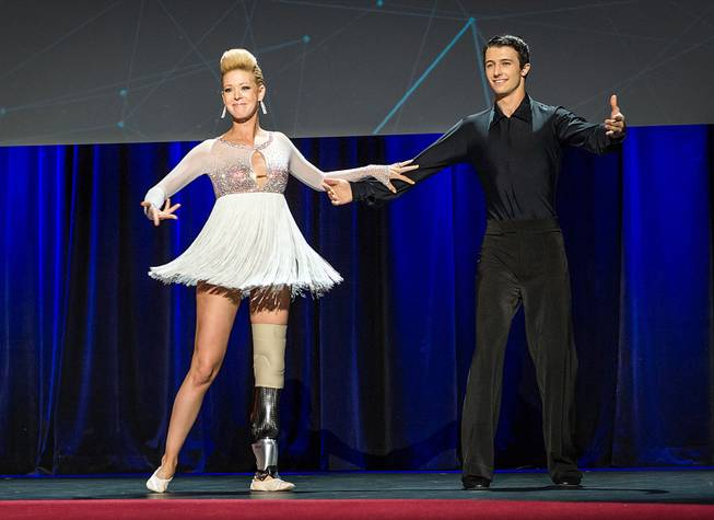 Adrianne Haslet-Davis performs onstage with Christian Lightner at the 2014 TED Conference on Wednesday, March 19, 2014, in Vancouver, B.C.