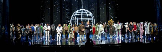 Jerry Nadal and the entire cast come together on stage following the One Night for ONE DROP exclusive dress rehearsal from the Michael Jackson ONE Theatre at Mandalay Bay on Thursday, March 20, 2014.