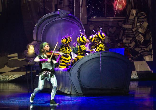 A dream sequence during the One Night for ONE DROP dress rehearsal in the Michael Jackson ONE Theatre on Thursday, March 20, 2014.