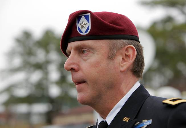 Brig. Gen. Jeffrey Sinclair, who admitted to inappropriate relationships with three subordinates, leaves the courthouse at Fort Bragg, N.C., Wednesday, March 19, 2014. A sentence was not reached.