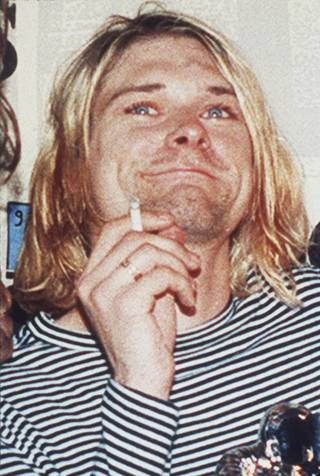 In this 1993 file photo, lead singer of Nirvana Kurt Cobain is photographed.