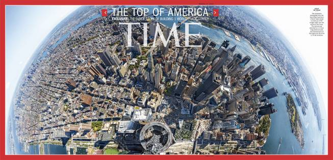 This image provided by Time Inc. shows the cover of the March 17, 2014, issue of Time Magazine, featuring a panoramic photo taken from atop 1 World Trade Center in New York. The image is made up of 567 images taken over the course of five hours and stitched together. The camera was attached to a 13-foot long aluminum pole and mounted just 10 feet below the tip of the 1,776 tall structure.