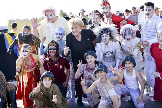 Las Vegas Mayor Carolyn Goodman poses with Cirque du Soleil performers during the Run Away with Cirque du Soleil 5K Run and One-Mile Fun Walk at the Springs Preserve on Saturday, March 15, 2014.