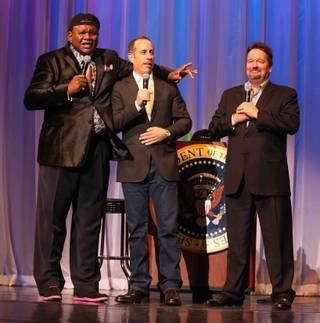 George Wallace, with Jerry Seinfeld and Terry Fator, celebrates his 10th anniversary at the Flamingo on Friday, March 21, 2014, in Las Vegas.