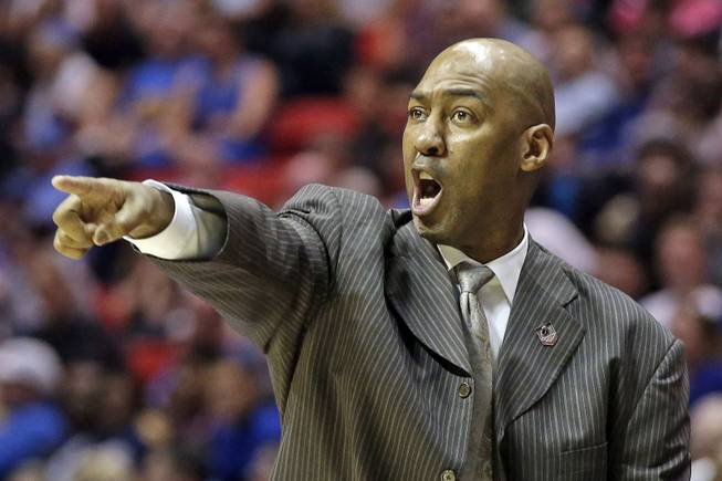 Tulsa head coach Danny Manning gestures as his team plays UCLA during the second half of a second-round game in the NCAA college basketball tournament Friday, March 21, 2014, in San Diego.
