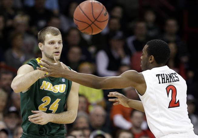 North Dakota State's Ryan Staten passes as San Diego State's Xavier Thames defends in the first half during the third round of the NCAA men's college basketball tournament in Spokane, Wash., Saturday, March 22, 2014.