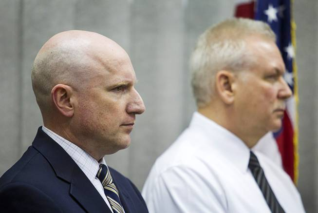 Clark County School District Jim McIntosh, left, and School Police Chief Jim Ketsaa attend a news conference at CCSD Police Headquarters in Henderson Monday, March 24, 2014. Officials addressed questions about an investigation into the possible misuse of funds by employees in the Adult English Language Acquisition Services (AELAS) department.
