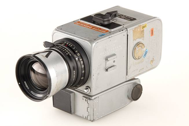 This photo provided by Galerie Westlicht in Vienna shows a Hasselblad 500 camera, which was part of the equipment carried by the 1971 Apollo 15 mission.