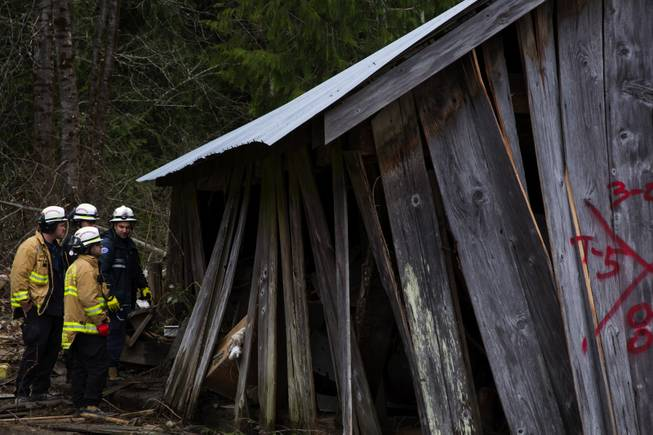 Search and rescue workers assess a damaged structure and what needed to be done to stabilize it before entering into it, in the debris field caused by the massive mudslide above the North Fork of the Stillaguamish River onto Highway 530, as recovery efforts are underway, near Oso, Wash., on Tuesday, March 25, 2014.