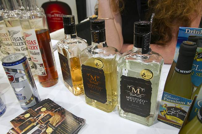 Mestizo Mescal, launched by Henderson resident Jessica Rosman, is displayed at the Booze Brothers Beverage booth during the Nightclub & Bar Convention and Trade Show at the Las Vegas Convention Center Wednesday March 26, 2014.