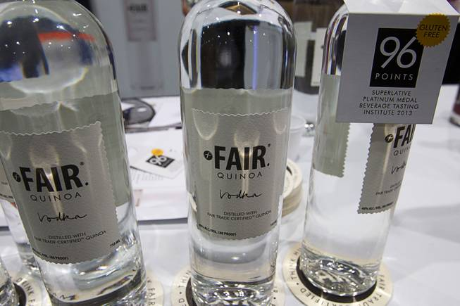 FAIR Quinoa Vodka is displayed during the Nightclub & Bar Convention and Trade Show at the Las Vegas Convention Center Wednesday March 26, 2014.
