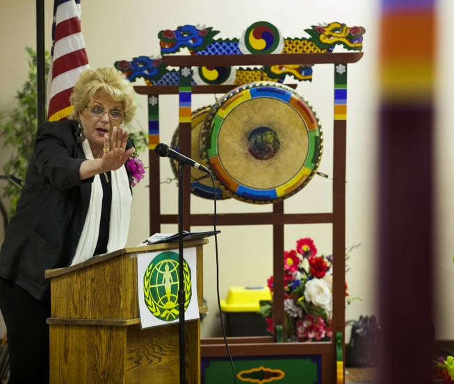 Mayor Carolyn Goodman addresses the crowd during A Moulin Rouge Affair sponsored by the Harrison House at the Elks Lodge on Wednesday, March 26, 2014.