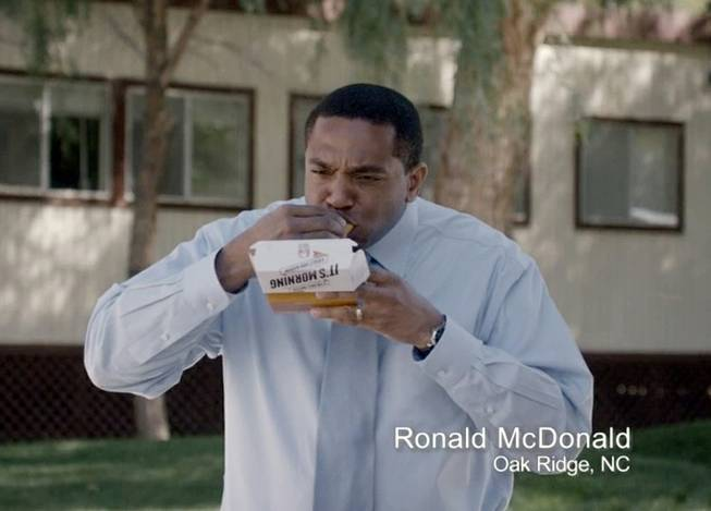 This frame grab from video provided by Taco Bell via Taylor Strategy shows Ronald McDonald of Oak Ridge, N.C., in a Taco Bell commercial. The fast-food chain will begin airing ads Thursday, March 27, 2014, that feature everyday men who happen to have the same name as the McDonald's mascot.