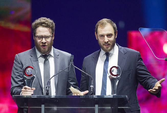 Comedy Filmmakers of the Year Seth Rogen (L) and Evan Goldberg speak at the Big Screen Achievement Awards during CinemaCon, the official convention of the National Association of Theatre Owners, at Caesars Palace Thursday, March 27, 2014.