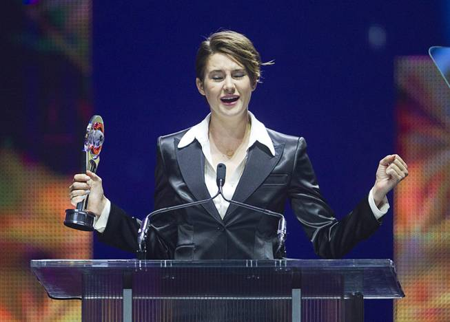 Female Star of Tomorrow Shailene Woodley breaks into a Celine Dion song at the Big Screen Achievement Awards during CinemaCon, the official convention of the National Association of Theatre Owners, at Caesars Palace Thursday, March 27, 2014. The show was held in The Colosseum where Celine Dion performs.