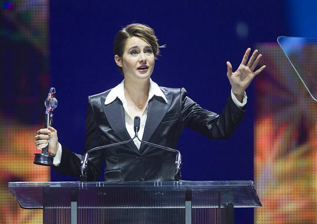 Female Star of Tomorrow Shailene Woodley accepts her award at the Big Screen Achievement Awards during CinemaCon, the official convention of the National Association of Theatre Owners, at Caesars Palace Thursday, March 27, 2014.