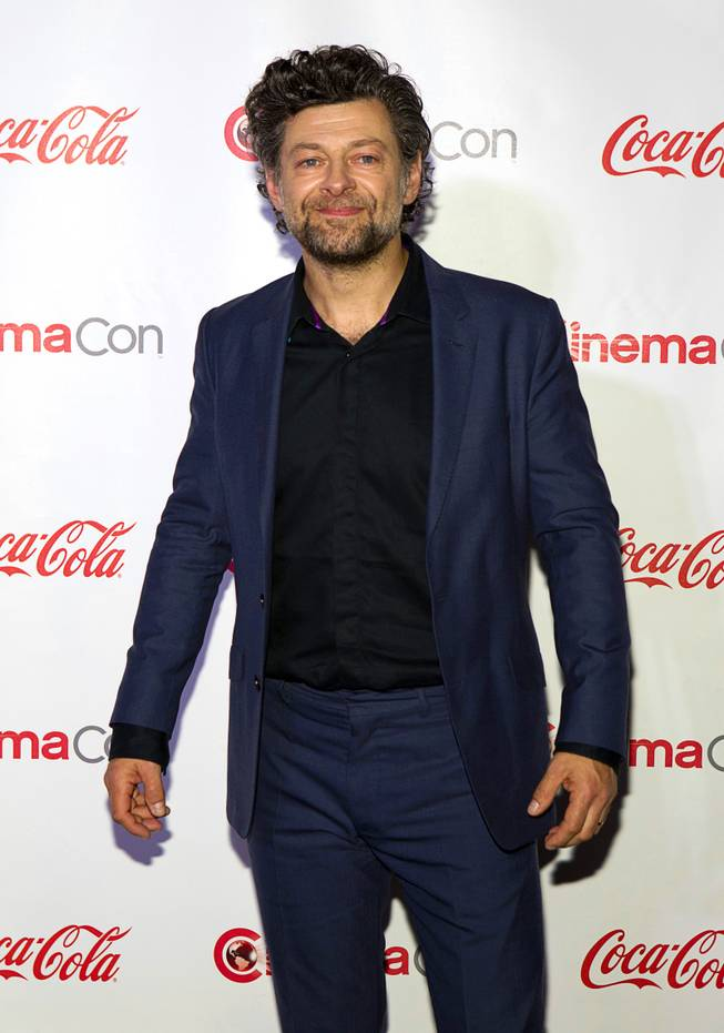 "Actor Andy Serkis, winner of the CinemaCon Vanguard Award, arrives for the Big Screen Achievement Awards during CinemaCon, the official convention of the National Association of Theatre Owners, at Caesars Palace Thursday, March 27, 2014. Serkis is known for his ""performance capture"" roles."