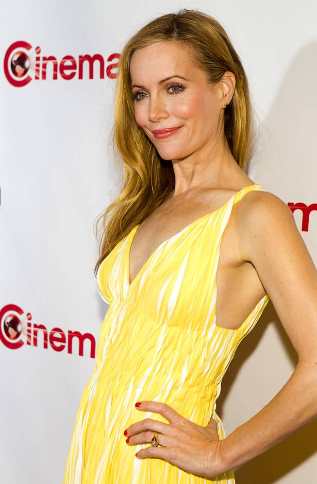 Actress Leslie Mann arrives for a 20th Century Fox presentation during CinemaCon, the official convention of the National Association of Theatre Owners, at Caesars Palace Thursday, March 27, 2014.