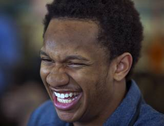 Findlay Prep guard Rashad Vaughn laughs with teammates while dining at a local McDonald's as he is honored for being selected as a McDonald's All-American on Thursday, March 27, 2014.