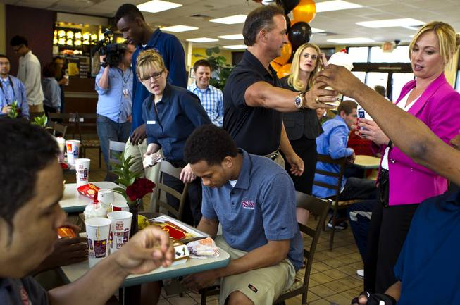 Findlay Prep guard Rashad Vaughn prays before dining with teammates while at a local McDonald's on Thursday, March 27, 2014.  He is the star of UNLV basketball's 2014 recruiting class and now honored as a McDonald's All-American.