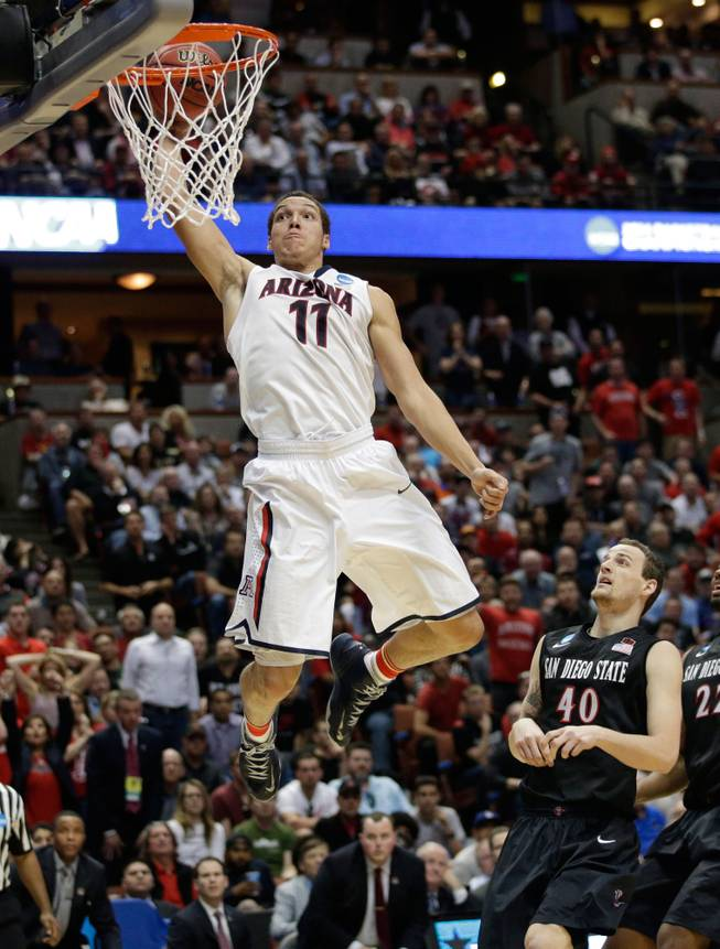 Arizona forward Aaron Gordon (11) dunks as San Diego State forward Matt Shrigley (40) watches during the second half in a regional semifinal of the NCAA men's college basketball tournament, Thursday, March 27, 2014, in Anaheim, Calif.