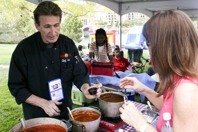 Chef Tim Walsh of Sonrisa Grill stirs up batch at the Silver State Regional Chili Cook-off Saturday June 6, 2009, at Lake Las Vegas.