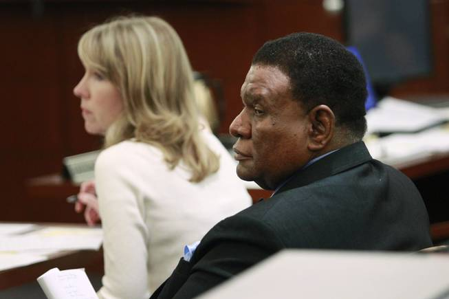 Comedian George Wallace appears in court for his lawsuit against Bellagio on Friday, March 21, 2014, in Las Vegas.