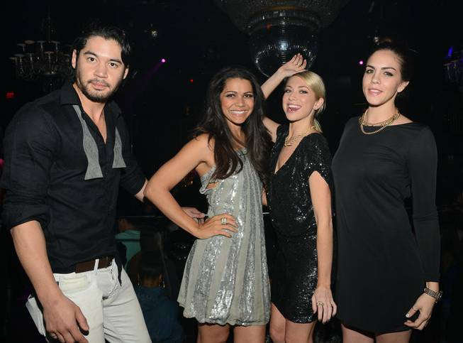 Stassie Schroeder, second from right, with Jeremy Davison, Jennifer Bush and Katie Maloney, hosts at Body English on Saturday, March 29, 2014, in the Hard Rock Hotel.