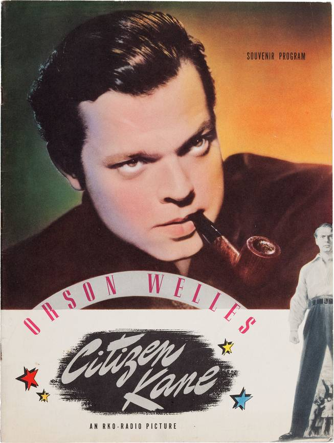 "This photo provided by Heritage Auctions shows Orson Welles' personal copy of a souvenir program from his classic 1941 film, ""Citizen Kane,"" which is among the legendary actor, director and scriptwriter's items consigned by his daughter, Beatrice Welles, that will be offered by Heritage Auctions in New York City on April 26, 2014."