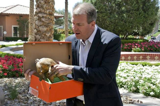 Director of Marketing for The Westin at Lake Las Vegas Matt Boland holds Willie Nelson's missing good luck charm armadillo and the box it was returned in April 1, 2014.