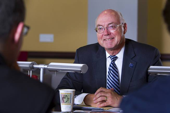 University of Nevada Reno President Marc Johnson listens to a question during an editorial board meeting at the Las Vegas Sun offices Tuesday, April 1, 2014.