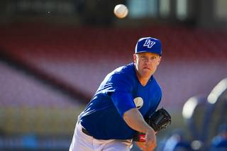 Las Vegas 51s pitcher Noah Syndergaard pitches during practice at Cashman Field on Tuesday, April 1, 2014.