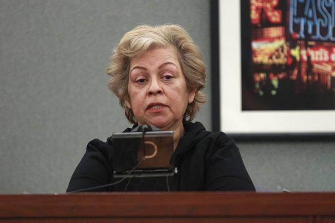 Carole Cotero, mother of shooting victim Dominick Manzo, testifies during the preliminary hearing for Peter Andrade Jr. on attempted murder and other charges Tuesday, April 1, 2014.