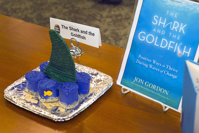 "A creation inspired by ""The Shark and the Goldfish"" by Jon Gordon is displayed during the 2014 Edible Book Festival at the UNLV Lied Library Tuesday, April 1, 2014. Students were challenged to create edible creations inspired by books."