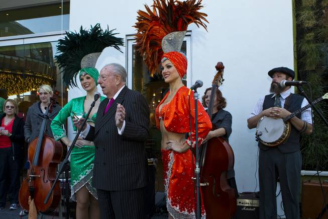 Former City of Las Vegas Mayor Oscar Goodman welcomes the crowd with a few witty words to the grand opening night of the new Bier Garten at the Plaza Hotel and Casino on Tuesday, April 1, 2014.