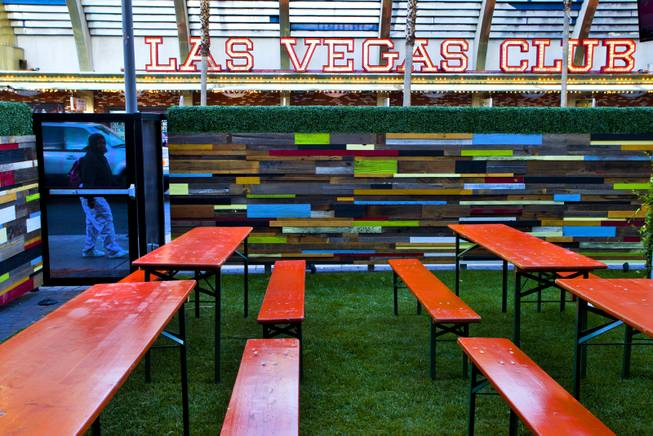 Tables from a 1980's Munich Oktoberfest and real grass adds to the genuine Bavarian feel to the new Bier Garten at the Plaza Hotel and Casino on Tuesday, April 1, 2014.