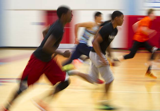Members of the Las Vegas Knicks run during practice at Western High School Wednesday, April 2, 2014. The club team has gone from starting its program to being nationally ranked in three years. Now they have a sponsorship from Reebok.