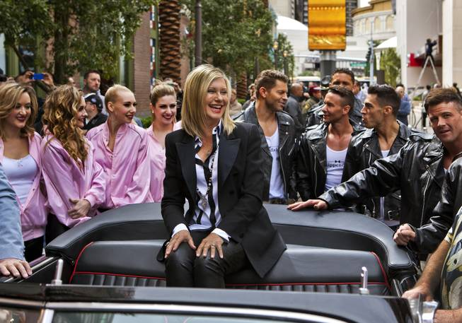 Olivia Newton-John makes her official Las Vegas arrival with a welcome event along the Linq at the Flamingo on Wednesday, April 2, 2014.