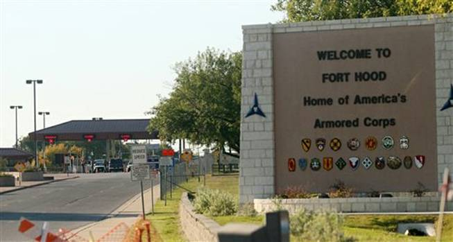 An entrance is shown to Fort Hood Army Base in this 2009 file photo. Fort Hood officials say there's been a shooting at the Texas Army base and that there have been injuries, on Wednesday, April 2, 2014.